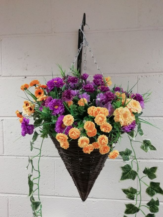 Round Wicker Artificial Flower Cone Hanging Basket - Purple and Orange with trailing Ivy
